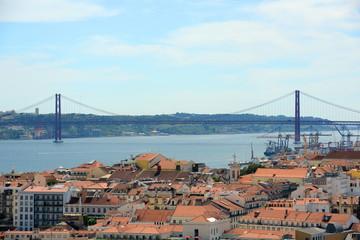 25 de Abril Bridge over Tejo River and Alfama District, Lisbon