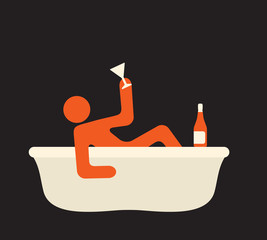personal celebration in a bath with a bottle of wine