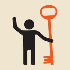 friendly man with a big key