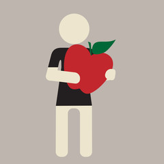 person holding giant ripe red apple