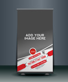 rolup display with stand banner template design, vector