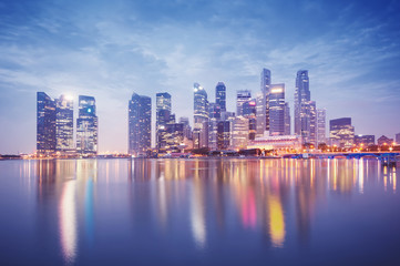 Singapore`s business district at night