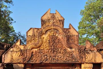 Beautiful detail of Banteay Srey Temple, Angkor in Cambodia