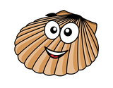Cartoon seashell with a happy smile