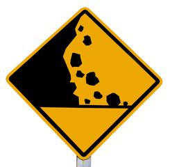 sign of falling rocks