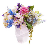 Bouquet from artificial flowers arrangement centerpiece in vase