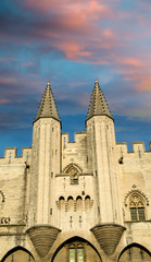 Pope palace in Avignon , France. Architectural detail of the tow