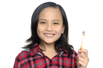 Little girl holding with white toothbrush
