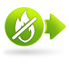 flamme interdite sur symbole web vert