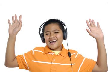 very happy, boy in head-phones