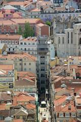 Santa Justa Elevator aerial view, Baixa district, Lisbon