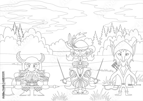 Fantasy heroes in forest, contour