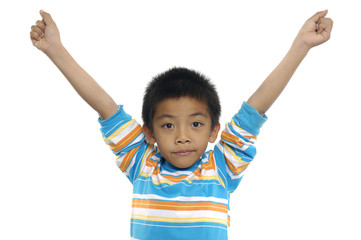 boy with the outstretched arms on a white
