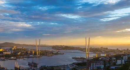 Vladivostok cityscape, sunset view. Summer.
