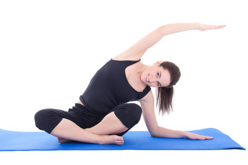 young woman stretching the muscles isolated on white background