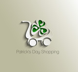 Patrick's Day Shopping Cart Icon, Shopping Basket Design.