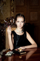 Woman smoke, retro style