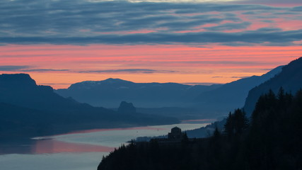 Sunrise with Clouds along Columbia River Gorge in Oregon