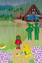 ピクトグラム梅雨のイラスト