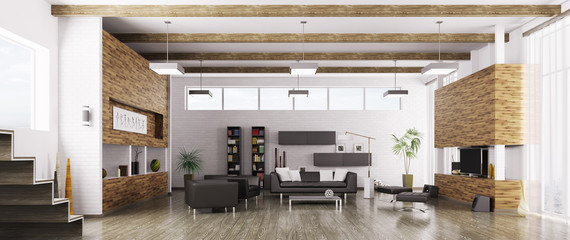Interior of modern living room panorama