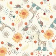 Sweet babies doodle seamless pattern. Babies background.