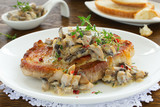 Pork steak with mushroom sauce and cream.