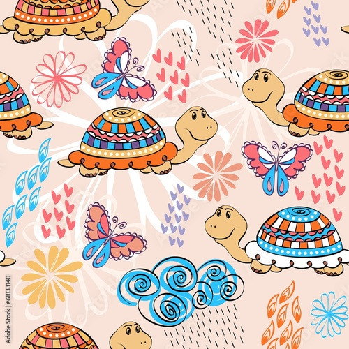 babies hand draw seamless pattern with turtle