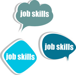 job skills. Set of stickers, labels, tags. infographics