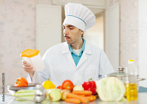 cook man  at kitchen