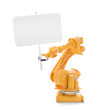 Industrial robot holding a blank sign