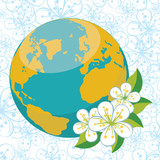 Planet earth with spring flovers on flowers background