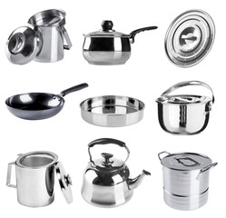 stainless steel kitchenware collection on a background