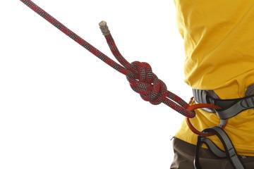 Kletterer mit Achterknoten