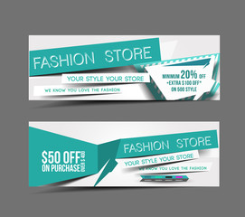Fashion Store Web Banner, Header Layout Template.