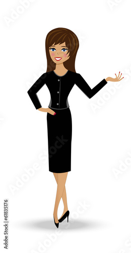 beautiful  slender woman in business suit on white background