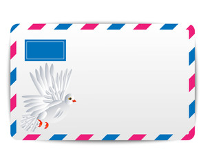 envelope Air with the drawn white pigeon