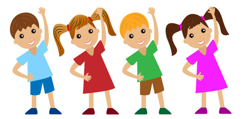 children go in for sports, do physical exercise