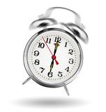 classical alarm clock ringing on white background