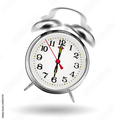 canvas print picture classical alarm clock ringing on white background