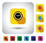 flat design vector icon - button with simple clock or watch sign