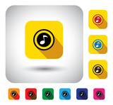 flat design vector icon - button with music note or tune symbol.