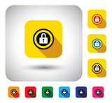 closed lock sign of security on button - flat design vector icon