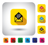 online email message sign on button - flat design vector icon