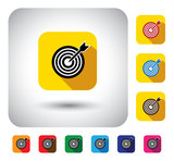 target or aim sign on button - flat design vector icon