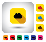 cloud computing sign on button - flat design vector icon