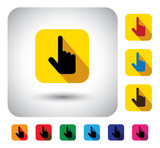 hand cursor sign on button - flat design vector icon.
