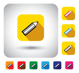 pencil sign on button - flat design vector icon