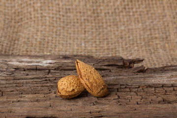 Almonds on wooden board