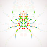 Abstract spider cartoon, colorful art illustration