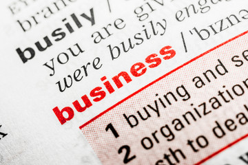 Business Word Definition In Dictionary Close Up